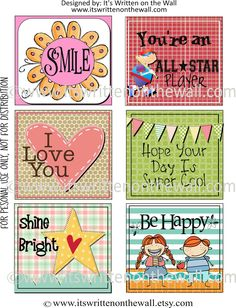 It's Written on the Wall: {Free Printables} Lunchbox Notes For Kids-8 Sheets