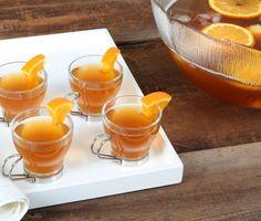 Rabbit punch--orange, lemon, pineapple, bourbon, and champagne.