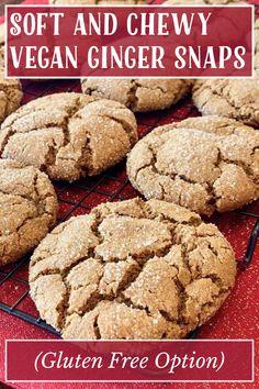 Gluten Free Recipes, My Recipes, Ginger Snaps, Vegan Butter, Vegan Vegetarian, Baking Soda, Treats, Desserts, Cookie Monster
