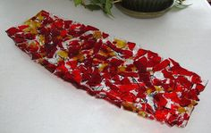 Confetti Platter Red and Amber Fused Glass by fireflysg on Etsy