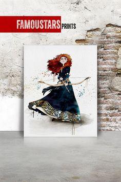 Brave Merida Disney Princess Pixar print Watercolor by FamouStars Merida Disney, Brave Merida, Disney Art, Pixar, Art Decor, Digital Prints, Nursery, Watercolor, Art Prints