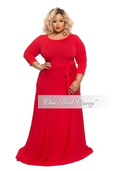 adc1997a35a 50% Off Sale - Final Sale Plus Size Long Dress with 3 4 Sleeve and Tie in  Red