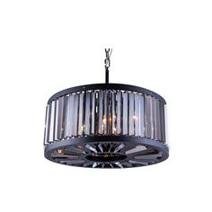 """Elegant Lighting 1203D28MB-SS/RC Chelsea Collection Pendent Lamp D:28"""" H:15.5"""" Mocha Brown Finish (Royal Cut Silver Shade Crystals)"""