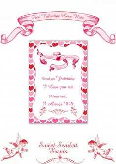 free valentines day love note printable