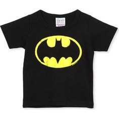 LOGOSHIRT Batman logo t-shirt 18 months-12 years ($31) ❤ liked on Polyvore featuring tops, t-shirts, black, black short sleeve t shirt, crew neck tee, crew neck t shirt, black top and short sleeve t shirts