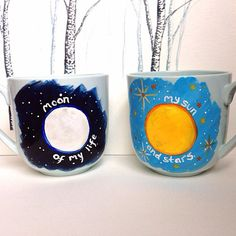 My Sun and Stars, Moon of My Life, Romantic Valentine's Day Hand-Painted, Up-Cycled, One-of-a-Kind Set of 2 Light Blue Mugs