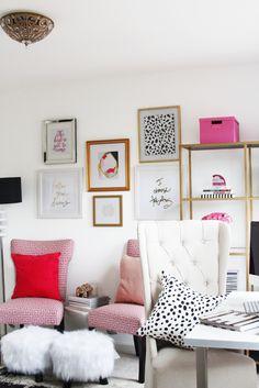 Escritório, rosa, branco, vermelho, feminino, refinado, elegante, classy, dourado.