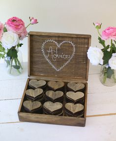 Αντί για βιβλίο ευχών οι καλεσμένοι αναγράφουν τις ευχές τους σε ξύλινες καρδιές και τις τοποθετούν σε ένα rustic ξύλινο κουτί ευχών See Full Post