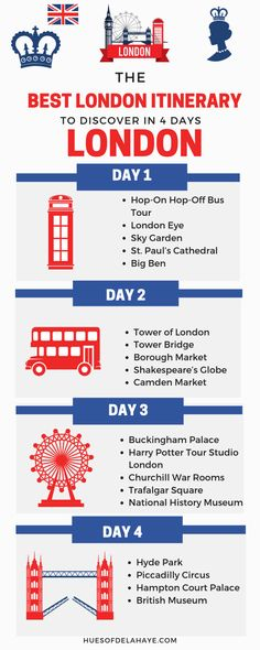 Want to know what to do in London in 4 days? Well this 4 days in London itinerary by a local is all you'll need for your London trip. This post has some of the best things to do in London including bucket lists activities like seeing Big Ben, Harry Potter Harry Potter Tour, Harry Potter Studios, Tower Bridge London, Tower Of London, Europe Travel Tips, Travel Guides, Travel Destinations, Travel Hacks, Travel Essentials