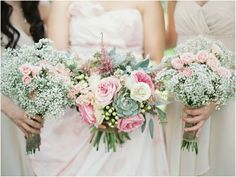 Brides & bridesmaid bouquets. Baby's breath!