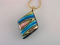 Fused Glass Jewelry Dichroic Glass Pendant Hand by AngelasArtGlass, $25.00