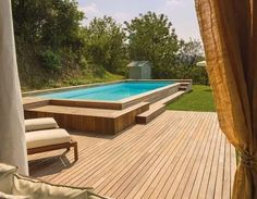 20+ Epic Above Ground Pool With Deck Ideas Backyard Pool Landscaping, Backyard Pool Designs, Small Backyard Pools, Small Pools, Outdoor Pool, Small Backyards, Modern Landscaping, Landscaping Plants, Outdoor Ideas