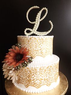 Ivory Pearl Wedding Cake Topper Letter L by ParisBakeryPretties, $60.00