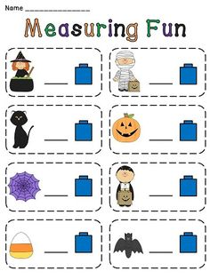 Halloween Measurement fun! Non-standard measurement of fun Halloween pictures with cubes - also a version for measuring with ruler!