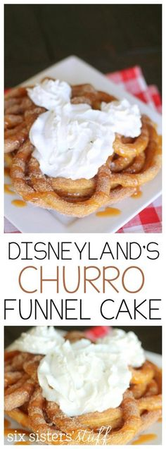 Churro Funnel Cake from SixSistersStuff.com | Homemade funnel cake, topped with cinnamon and sugar, caramel and whipped cream.  It tastes even better than it sounds!