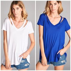 Holiday Promo New • Essential Cut Out Tee White - Royal Blue and Red Simple with a twist . Cut out neckline tunic with v neck line and loose style . Spandex and rayon blend . Nwot Vivacouture Tops