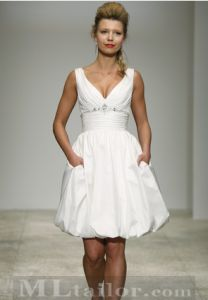 short wedding dress with pockets... however I would want a long dress but I like the shoulders and bodice