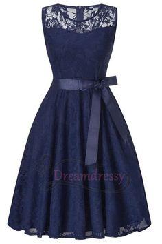 d214b2913c Cute A-line Short Navy Blue Lace Bridesmaid Dress