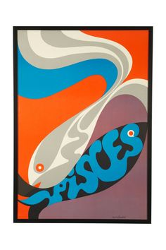 1960s Pisces Zodiac Poster.  Pisces are the coolest!  :)  I want this to frame and hang in the entry....