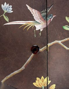 De Gournay wallpaper with hand-painted bird, interior design by Miles Redd, photo by Thomas Loof.