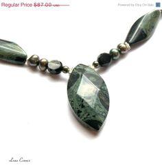 ON SALE Necklace Pendant Green Jasper by LunaEssence