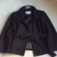 OldNavy Wool Jacket Waist length 3/4 sleeve Wool Belted Jacket..Cute coat with jeans..several wears..just not my style anymore..If you know wool and the color black..just needs a quick lint brush or tape and your off and out Old Navy Jackets & Coats