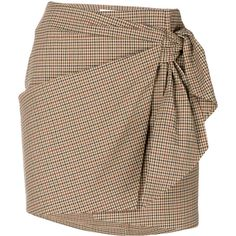 Isabel Marant Étoile knotted check skirt (€210) ❤ liked on Polyvore featuring skirts, beige, checkered skirt, utility skirt, brown skirt, shirred skirts and tie skirt