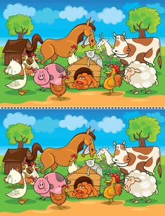 Find out the Differences - Find The Difference Pictures, Spot The Difference Puzzle, Puzzles For Kids, Games For Kids, Mig E Meg, Farm Cartoon, Brain Teasers For Kids, Drawing Lessons For Kids, Learning English For Kids