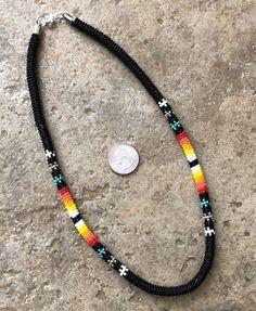 Native American Beaded Black Powwow Rope 21 Long Necklace (eBay Link) Beaded Earrings, Beaded Jewelry, Beaded Bracelets, Necklaces, Native American Beading, Native American Jewelry, Rope Necklace, Crochet Necklace, Beading Patterns