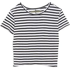 Enza Costa Striped Boy Tee (1.775 ARS) ❤ liked on Polyvore featuring tops, t-shirts, shirts, tees, multi, t shirt, striped tee, slouchy t shirt, black and white stripe shirt and short sleeve shirts