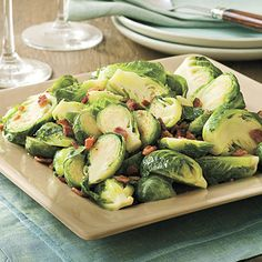 Bacon-Brown Sugar Brussels Sprouts - 102 Best Thanksgiving Side Dish Recipes - Southern Living