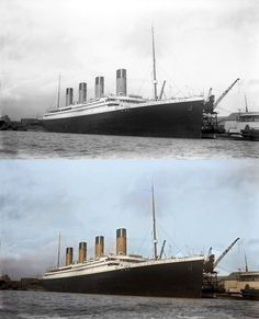 titanic in color ship
