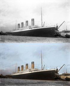 titanic in color ship