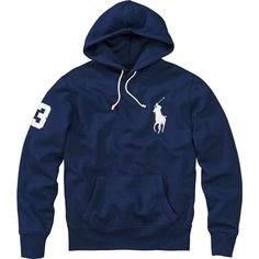 POLO RALPH LAUREN Hoodie ($105) ❤ liked on Polyvore featuring mens, men's clothing, men's hoodies, outerwear, tops and blau