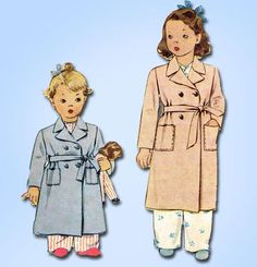 1940s Vintage McCall Sewing Pattern 5431 Uncut WWII Toddler Boy Girl Robe Size 6 - Vintage4me2