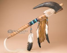 "Native American Apache Buffalo Horn Rattle 24"""" (127)"