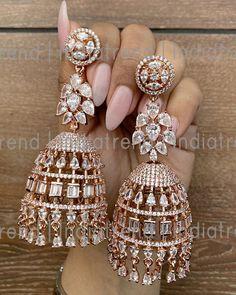 Diamond Earrings Indian, American Diamond Jewellery, Indian Jewelry Earrings, Jewelry Design Earrings, Gold Earrings Designs, Ear Jewelry, Jhumki Earrings, Necklace Designs, Blue Diamond Jewelry