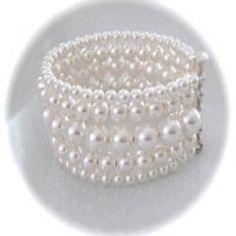 Bridal Jewelry White Pearl Cuff Bracelet 5 Strand Bracelet