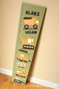 Truck Themed Growth Chart with Deco Art Construction Truck Themed Growth Chart using Paints Construction Theme Bedroom, Boys Construction Room, Boys Truck Room, Truck Bedroom, Boys Growth Chart, Growth Charts, Digger Bedroom, Baby Nursery Themes, Baby Rooms