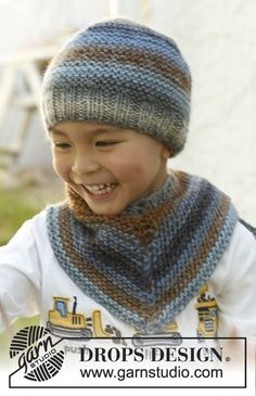 "Big brother / DROPS Children - free knitting patterns by DROPS design : Big brother – Knitted DROPS hat and scarf in ""Big Delight"". – Free oppskrift by DROPS Design Baby Knitting Patterns, Knitting Designs, Crochet Patterns, Easy Knitting Projects, Knitting For Kids, Free Knitting, Bonnet Crochet, Knit Crochet, Crochet Hats"