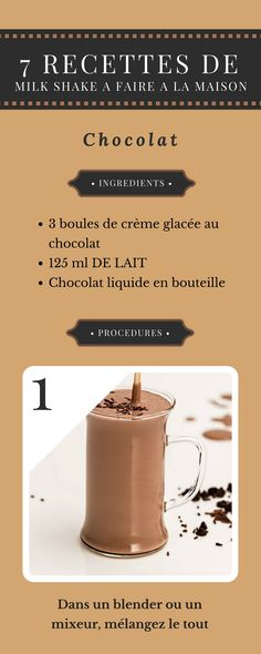 7 RECETTES DE MILK SHAKE A FAIRE A LA MAISON Non Alcoholic Drinks, Cocktails, Milk Shakes, Food Illustrations, Hot Chocolate, Cooking Tips, Deserts, Food And Drink, Tasty