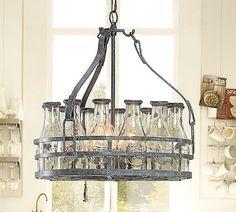 Milk bottle chandelier. Wish I had a farmhouse!