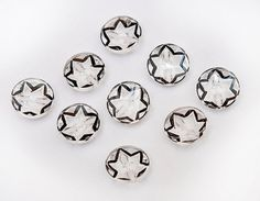 9-vintage-antique-buttons-clear-glass with black stars