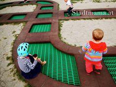 Spielplatz Tipp Wien | Motorikpark Wien - Stadtmama.at Park, Kids Rugs, Home Decor, Playground, City, Travel, Tips, Kids, Decoration Home