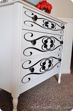Stenciled painted furniture by All Things Thrifty