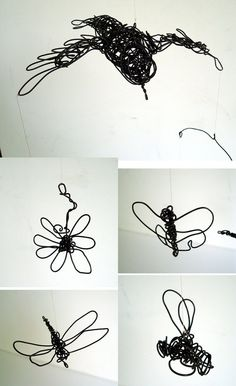 Original Wire Mobile Sculpture  FLYING BIRD and by wireanimals