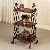 The Meyda Scrolling Etagere has three wooden shelves for serving or display purposes. Furniture features metal banded scrolls finished in antique bronze with. Pine Bedroom Furniture, Iron Furniture, Accent Furniture, Iron Storage, Floor Shelf, Retro Living Rooms, Iron Coffee Table, Wrought Iron Decor, Iron Shelf