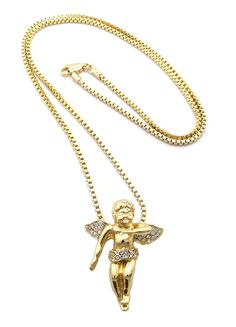 Cherub Angel Paved Micro Pendant Set w// 2mm 24 /& 30 Box Chain Necklaces in Gold-Tone