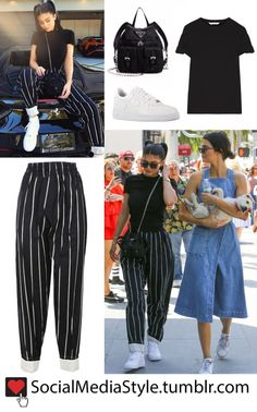 Kylie Jenner's Black Shirt, Striped Pants, Mini Backpack, and White Sneakers - Pantaloni da donna Rihanna Outfits, Kylie Jenner Outfits, Trajes Kylie Jenner, Paris Outfits, Celebrity Outfits, Fashion Outfits, Shirtdress Outfit, Black Shirt Outfits, Cute Outfits