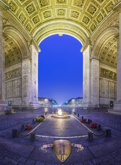 The Arc de Triomphe de l'Étoile is one of the most famous monuments in Paris. It stands in the centre of the Place Charles de Gaulle (originally named Place de l'Étoile), at the western end of the Champs-Élysées. It should not be confused with a smaller arch, the Arc de Triomphe du Carrousel, which stands west of the Louvre. The Arc de Triomphe (CW24)